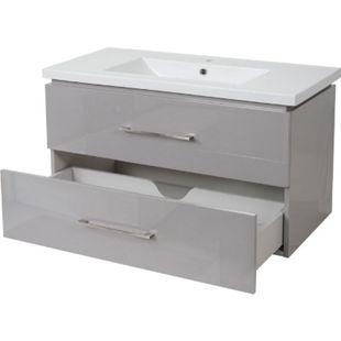 Premium Waschbecken + Unterschrank MCW-D16, Waschbecken Waschtisch, hochglanz 90cm ~ grau - Bild 1