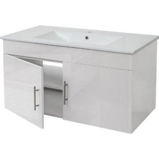 Waschbecken + Unterschrank MCW-D16, Waschbecken Waschtisch, hochglanz 90cm ~ weiß - Bild 1