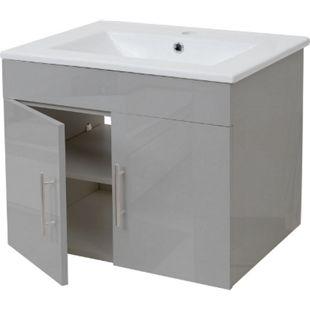 Waschbecken + Unterschrank MCW-D16, Waschbecken Waschtisch, hochglanz 60cm ~ grau - Bild 1