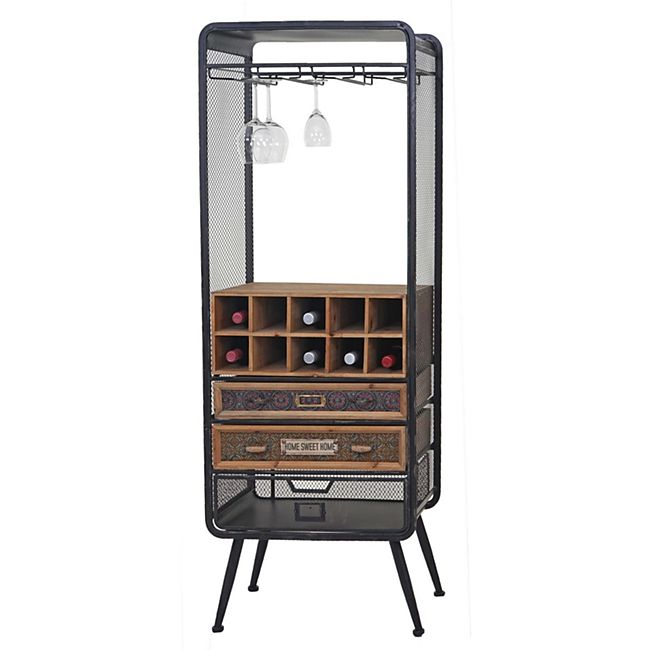 Weinregal MCW-C91, Flaschenregal Barschrank Weinständer für 10 Flaschen, Tanne Holz Vintage 157x57x38cm - Bild 1