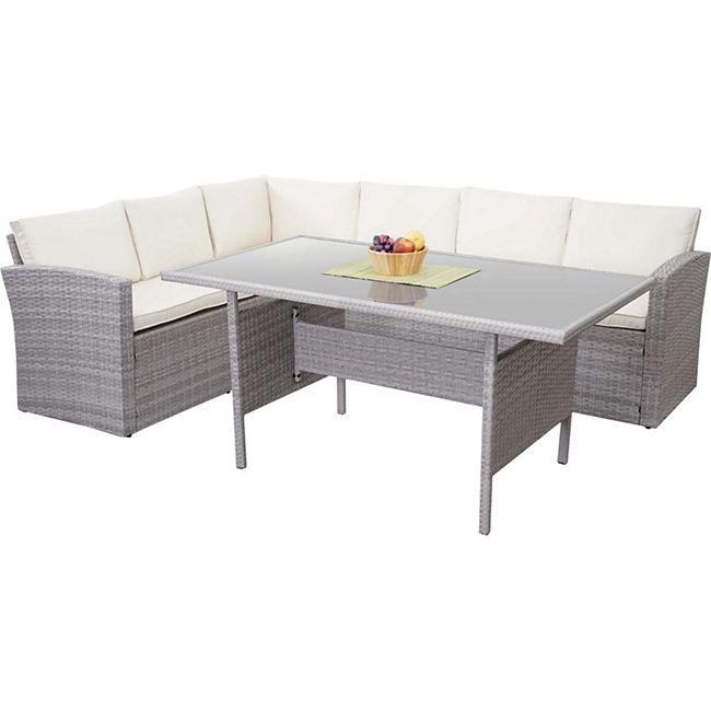 Poly-Rattan-Garnitur MCW-A29, Gartengarnitur Sitzgruppe Lounge-Esstisch-Set Sofa, hellgrau ~ Kissen creme - Bild 1
