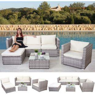 Poly-Rattan-Garnitur Busto, Gartengarnitur Sitzgruppe Sofa Lounge-Set ~ grau, Kissen creme - Bild 1