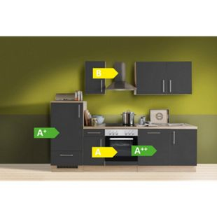 Menke Küchen Küchenzeile Premium 270 cm inkl. Geschirrspüler Lacklaminat Schiefer Matt - Bild 1