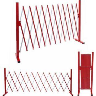 Absperrgitter MCW-B34, Scherengitter Zaun Schutzgitter ausziehbar, Alu rot-weiß ~ Höhe 103cm, Breite 37-300cm - Bild 1