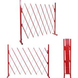 Absperrgitter MCW-B34, Scherengitter Zaun Schutzgitter ausziehbar, Alu rot-weiß ~ Höhe 153cm, Breite 28-200cm - Bild 1