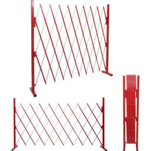 Absperrgitter MCW-B34, Scherengitter Zaun Schutzgitter ausziehbar, Alu rot-weiß ~ Höhe 153cm, Breite 32-265cm - Bild 1