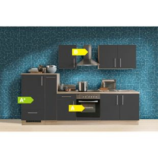 Menke Küchen Küchenzeile Premium 300 cm Lacklaminat Schiefer Matt - Bild 1