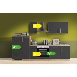 Menke Küchen Küchenzeile Premium 300 cm inkl. Geschirrspüler Lacklaminat Schiefer Matt - Bild 1