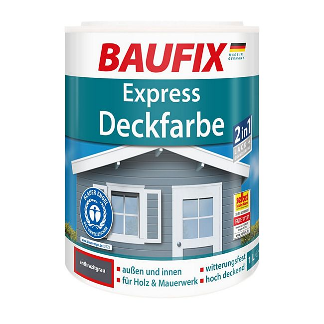BAUFIX Express Deckfarbe anthrazitgrau, 1 L - Bild 1