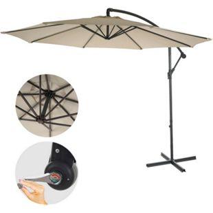Ampelschirm Terni, Sonnenschirm Sonnenschutz, Ø 3m neigbar, Polyester/Stahl 11kg ~ creme ohne Ständer - Bild 1