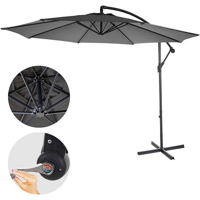 Ampelschirm Terni, Sonnenschirm Sonnenschutz, Ø 3m neigbar, Polyester/Stahl 11kg ~ grau ohne Ständer - Bild 1