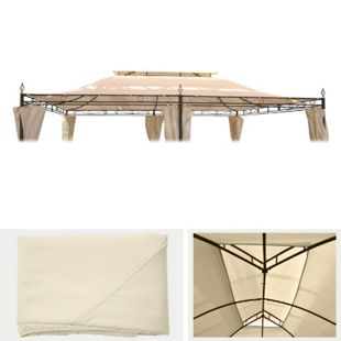 Ersatzbezug für Dach Pergola Pavillon Mataro 4x3m, creme - Bild 1
