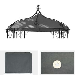 Ersatzbezug für Dach Pergola Pavillon Cabrera Ø 3m ~ grau - Bild 1