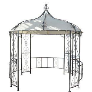 Pergola Cabrera, Rundpavillon Garten Pavillon, stabiles Stahl-Gestell, Ø 3m ~ creme - Bild 1