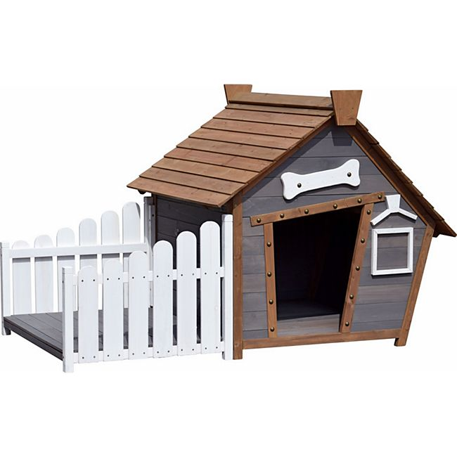 Dobar Outdoor-Hundehütte mit Spitzdach und seitlicher Veranda - Bild 1