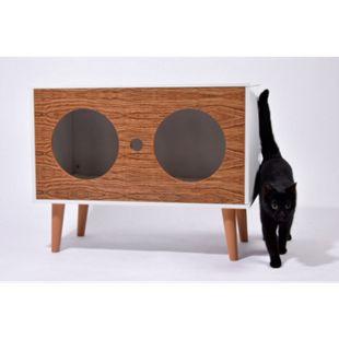 """Dobar Katzenhöhle """"Rocky"""" mit 2 Eingängen, Katzenhaus mit flauschigem Katzenbett im Inneren - Bild 1"""