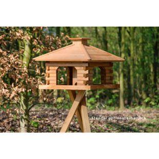 Dobar Rustikales XL-Vogelfutterhaus im Blockhaus-Stil mit dekorativem Holzdach, Vogelhaus mit integriertem Futtersilo - Bild 1
