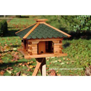 Dobar Rustikales XL-Vogelfutterhaus im Blockhaus-Stil mit grünem Bitumendach, Vogelhaus mit integriertem Futtersilo - Bild 1