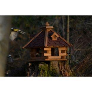 Dobar Rustikales XL-Vogelfutterhaus im Blockhaus-Stil mit rotem Bitumendach, Vogelhaus mit 6 Einfluglöchern - Bild 1