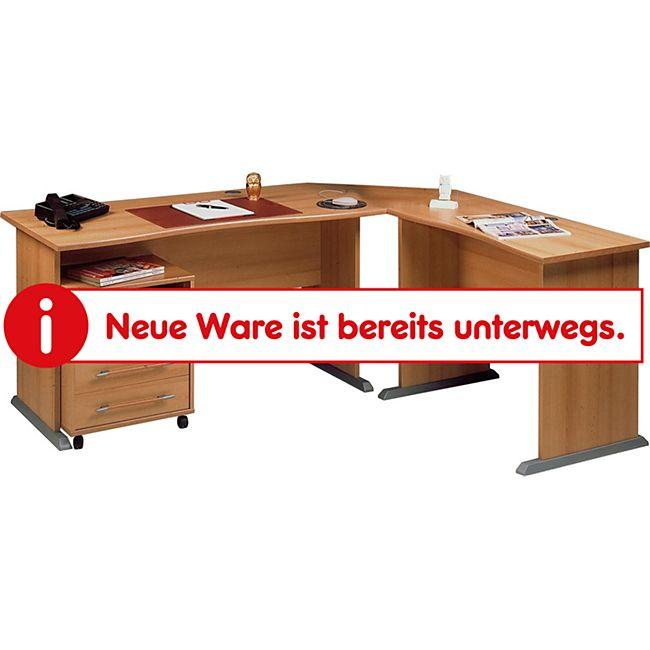 Germania 0495-11 Schreibtisch-Winkelkombination mit Rollcontainer, in Buche-Nachbildung, 190 x 75 x 170 cm (BxHxT) - Bild 1