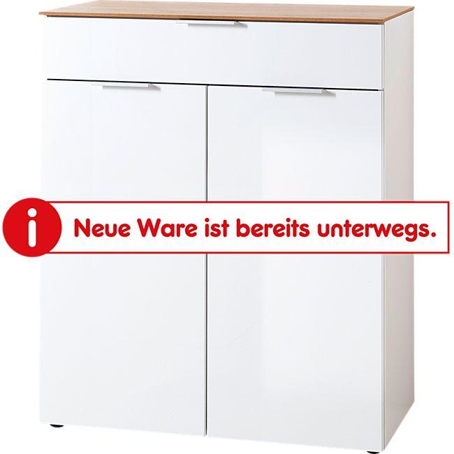Germania Kommode 3820-513 GW-Cetano in Weiß/Navarra-Eiche-Nb., Fronten in Hochglanz, 90 x 106 x 40 cm (B/H/T) - Bild 1