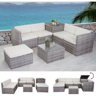 Poly-Rattan-Garnitur MCW-D21, Gartengarnitur Sofa Set ~ grau, Kissen creme ohne Deko-Kissen - Bild 1