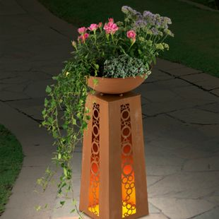 EASYmaxx LED-Dekosäule Flamme Rost-Optik 69cm 4,5V - Bild 1
