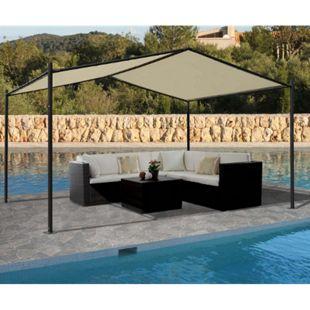 Pergola MCW-A42, Garten Pavillon Terrassenüberdachung, stabiles 6cm Stahl-Gestell 4x3m ~ creme - Bild 1
