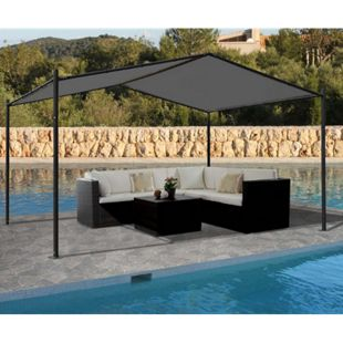 Pergola MCW-A42, Garten Pavillon Terrassenüberdachung, stabiles 6cm Stahl-Gestell 4x3m ~ anthrazit - Bild 1