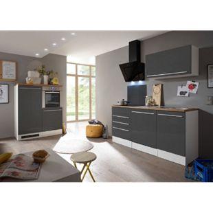Respekta Premium Küchenzeile mit Mineralite-Einbauspülbecken 290 cm, grau - Bild 1