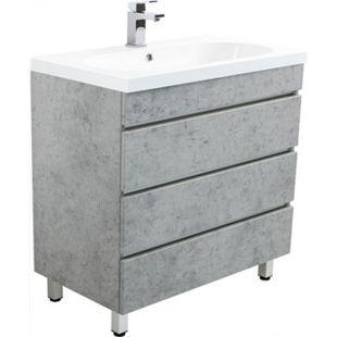 Stand Badmöbel Kali 70 beton mit drei grifflosen Schubladen, beton - Bild 1