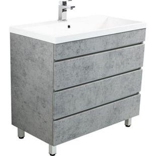 Stand Badmöbel Felini 90 beton mit drei grifflosen Schubladen, beton - Bild 1