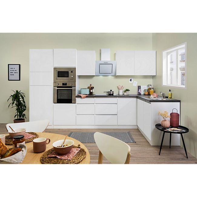 Respekta Premium grifflose L-Küchenzeile GLRPL345HW 345 cm, weiß - Bild 1
