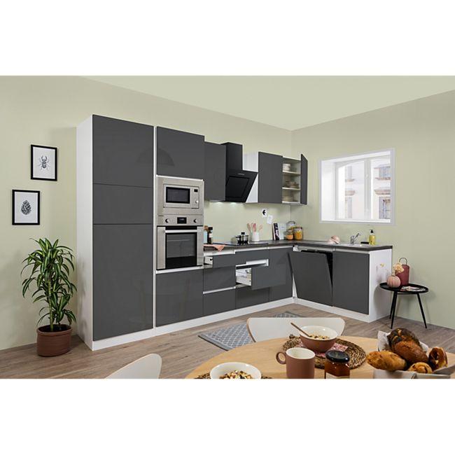 Respekta Premium grifflose L-Küchenzeile GLRPL345HW 345 cm, grau - Bild 1