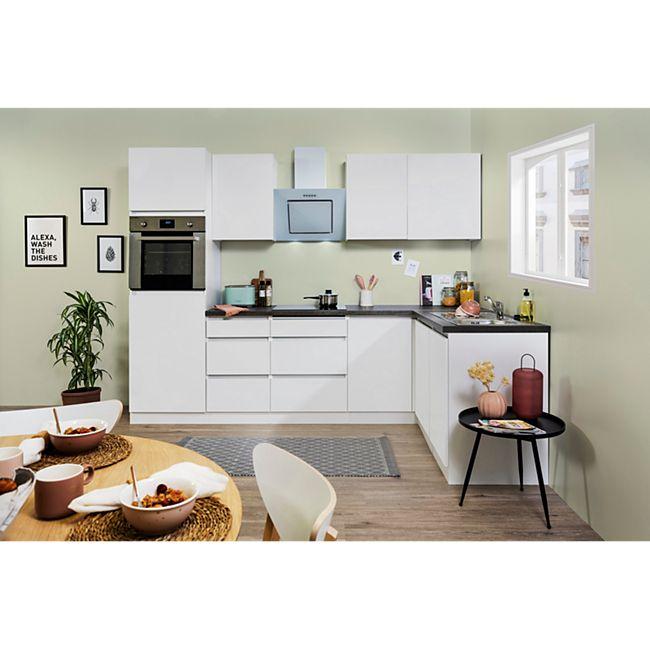 Respekta Premium grifflose L-Küchenzeile GLRPL280HW 280 cm Weiß, verschiedene Fronten - Bild 1