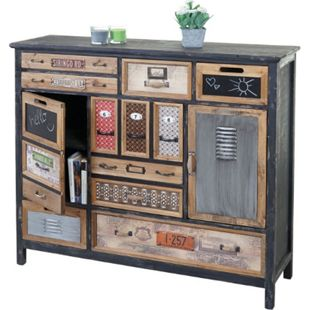 Apotheker-Schrank MCW-A43, Kommode, Tanne Holz massiv Vintage Shabby-Look 100x110x32cm - Bild 1