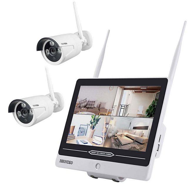 """Inkovideo INKO-AL3003-2 Full HD WLAN Überwachungsset mit integriertem 30,48 cm (12"""" Zoll) Monitor und 2 Überwachungskameras - Bild 1"""