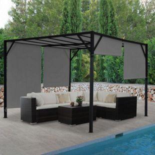 Pergola Beja, Garten Pavillon Terrassenüberdachung, stabiles 6cm-Stahl-Gestell + Schiebedach grau ~ 3x3m - Bild 1