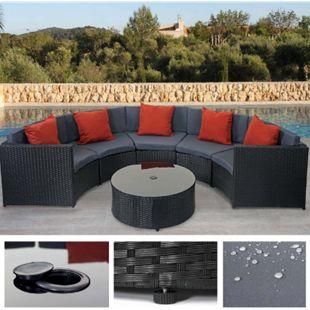 Poly-Rattan Garnitur rund MCW-E17, Garten-Set Sitzgruppe ~ schwarz, Polster dunkelgrau, Kissen terrakotta - Bild 1