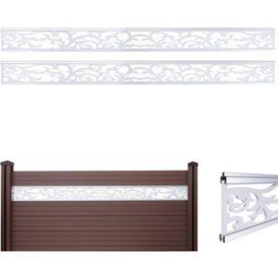 2x Dekopaneel für WPC-Sichtschutz Savoie, Verkleidung, 16x177cm weiß - Bild 1