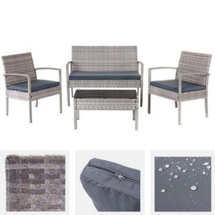 Poly-Rattan Garnitur MCW-D98, Garten-/Lounge-Set Sitzgruppe ~ grau, Kissen dunkelgrau - Bild 1