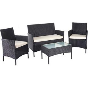 Poly-Rattan Garten-Garnitur MCW-D82, Sitzgruppe Lounge-Set ~ schwarz mit Kissen creme - Bild 1