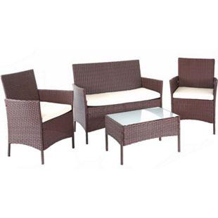 Poly-Rattan Garten-Garnitur MCW-D82, Sitzgruppe Lounge-Garnitur ~ braun-meliert mit Kissen creme - Bild 1