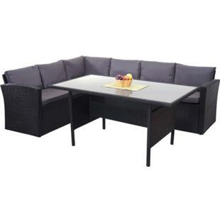 Poly-Rattan-Garnitur MCW-A29, Gartengarnitur Sitzgruppe Lounge-Esstisch-Set, schwarz ~ Kissen dunkelgrau - Bild 1