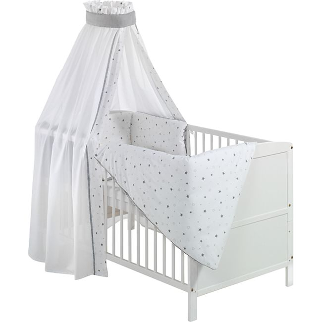 """Schardt Komplett-Babybett mit 6tlg. Textilausstattung """"Sternchen grau"""" - Bild 1"""