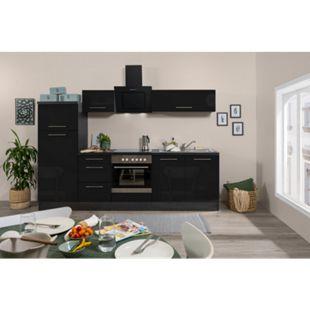 Respekta Premium Küchenzeile RP270ESC 270 cm Eiche Grau Nachbildung - Schwarz Hochglanz - Bild 1