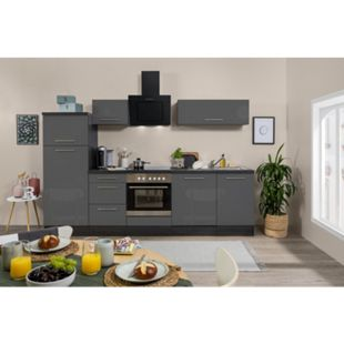 Respekta Premium Küchenzeile RP280EGC 280 cm Eiche Grau NB - Grau Hochglanz - Bild 1