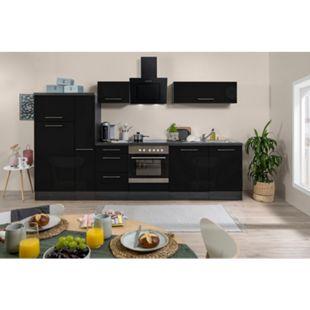 Respekta Premium Küchenzeile RP310ESC 300 cm Eiche Grau NB - Schwarz Hochglanz - Bild 1