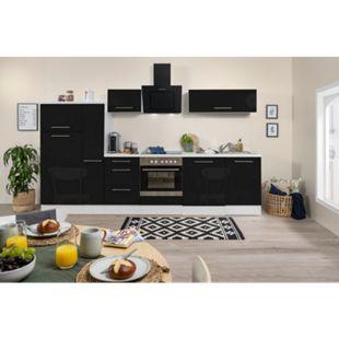 Respekta Premium Küchenzeile RP310WSC 310 cm Weiß - Schwarz Hochglanz - Bild 1