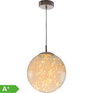 Nino Leuchten LED Pendelleuchte LIGHTS - Durchmesser 30  cm, Nickel, Glas amberfarbig - Bild 1